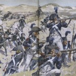 Drawing of soldiers in action