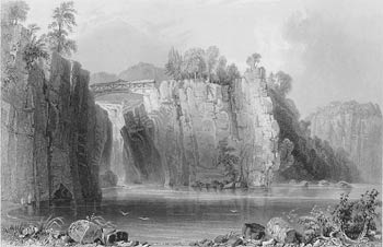 Drawing of a waterfall with a tiny bridge across it