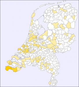 map of the Netherlands with higher concentration in the southwest (province of Zeeland)