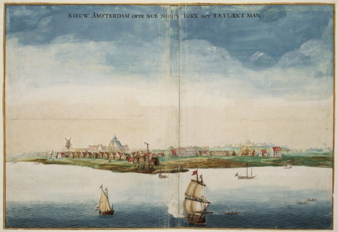 View of New York with ships in the front