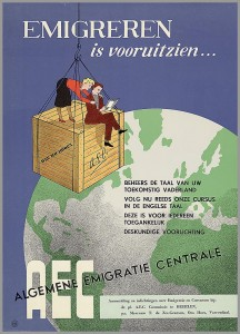 poster showing people on a crate moving across the globe
