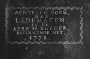 Cover of a membership book of Rhenen, starting in 1772