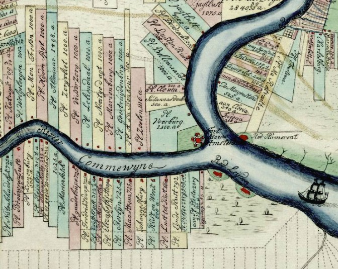map showing plots next to a river