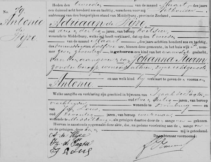Birth record of Antonie de Wijze, Middelburg 2 March 1886