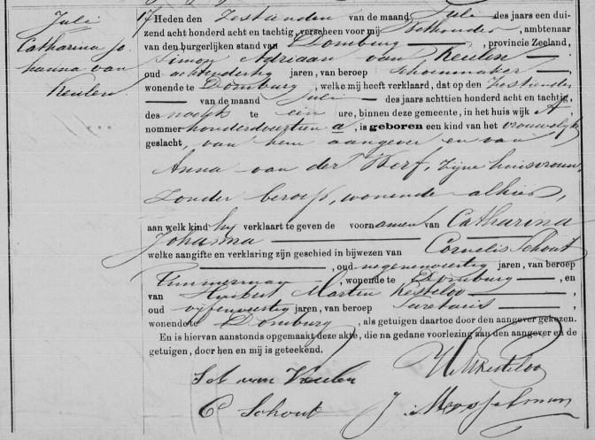 Birth record of Catharina Johanna van Keulen, Domburg, 16 July 1888