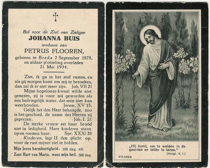 Prayer card of Johanna Buis