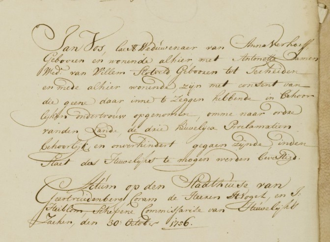 Marriage record of Jan Vos and Antonetta Damen (Aldermen's records)