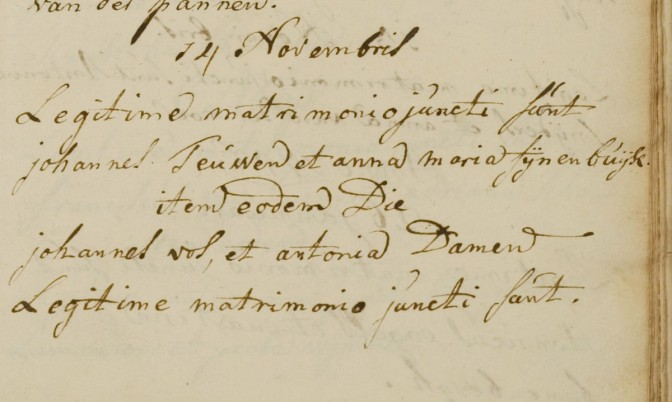 Marriage record of Johannes Vos and Antonia Damen (Roman-Catholic)