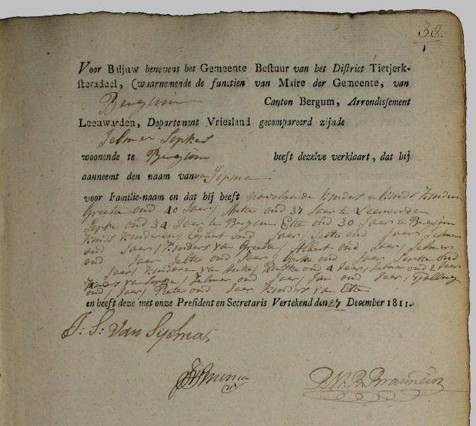 Name taking record of Jelmer Sipkes Sipma