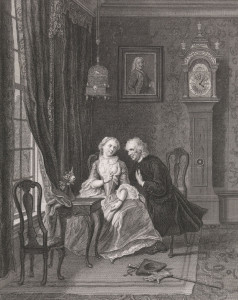 Etch of an older man holding a woman's had