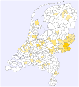 Spread of the name Hoitink in 2007