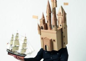 Person with a castle instead of a head