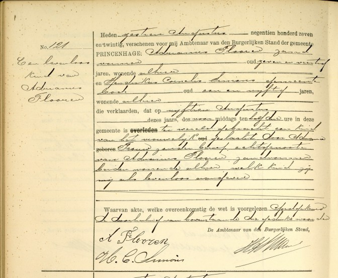 Death record of stillborn child