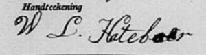 1833 signature of Willem Lucas Hateboer