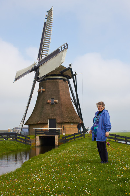 Cheryl at the Huinsermolen [Huins Mill]