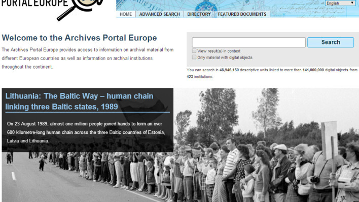 Archives Portal Europe homepage