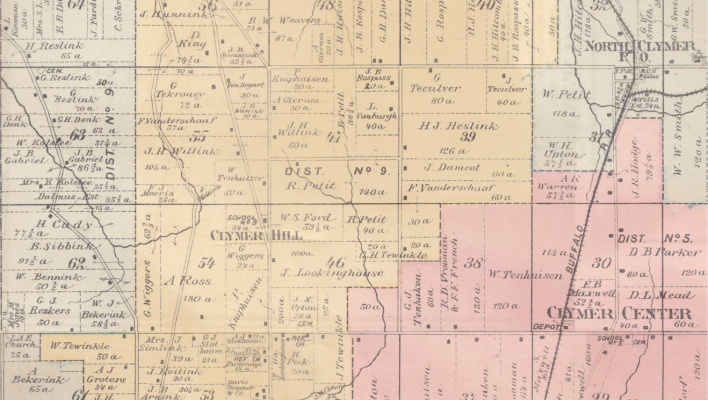 Fragment of a plat map of Clymer, Chautauqua county, New York in 1880, showing several Achterhoek names