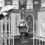 baptismal font in a church