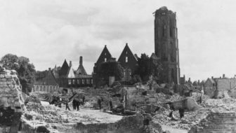 view of a ruined church and surrounding buildings