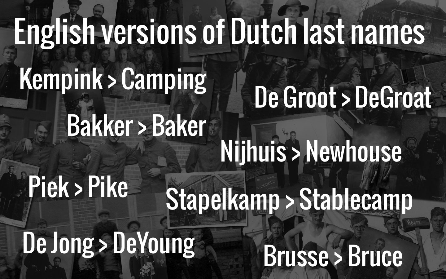 Last Names: English Versions Of Dutch Last Names