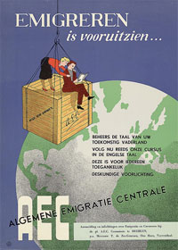 Poster with a man and women sitting on a crate on top of the globe