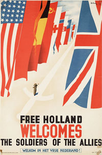 Poster: Free Holland welcomes the soldiers of the allies