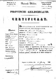 certificate including physical description