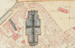 map showing different plots around a church