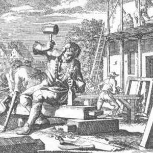 print showing a carpenter at work
