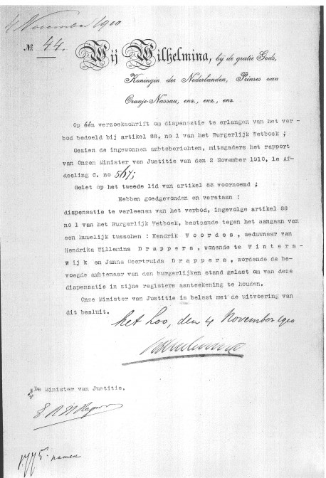 Royal Decree giving permission to Hendrik Woordes and Janna Geertruid Drappers [sic] to be married