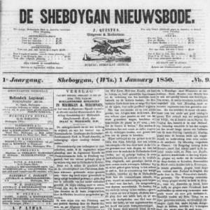 Front page of Sheboygan Nieuwsbode