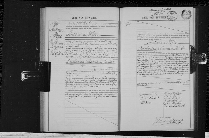 Marriage record of Antonie de Wijze and Catharina Johanna van Keulen, Middelburg, 8 May 1907