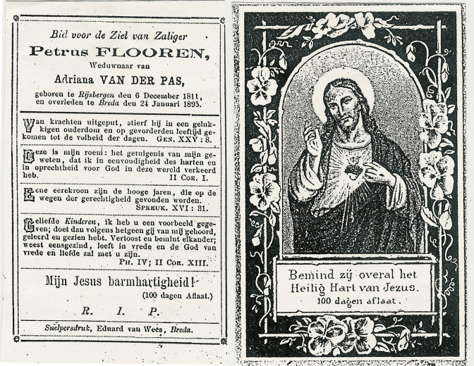 Prayer card of Petrus Flooren