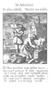 Etching of a bricklayer