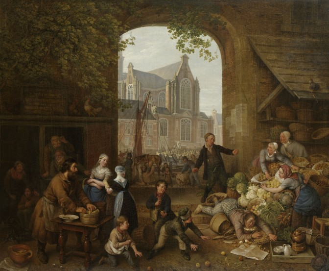 Painting of a market with two drunk men