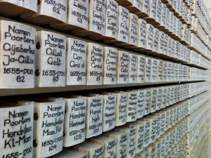 Row of books with names of poorters