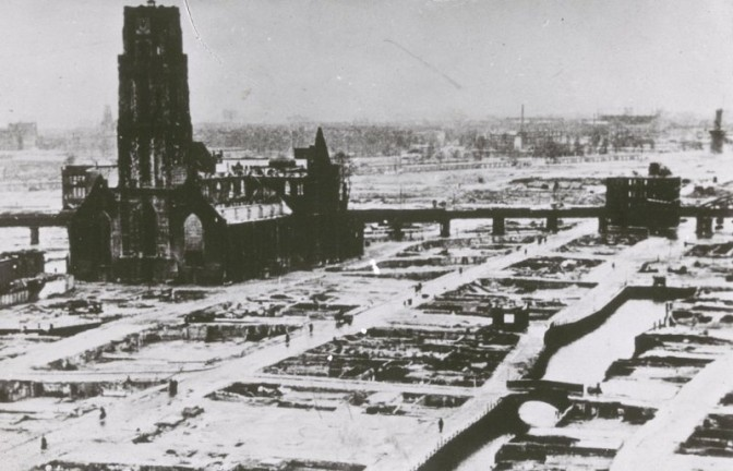 destroyed city with one church still standing