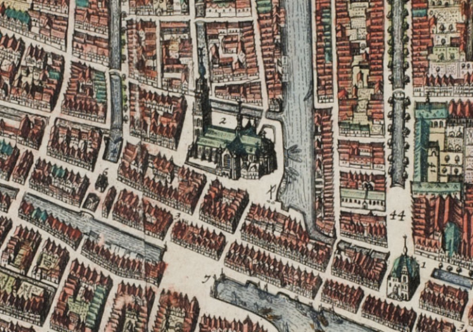 Map of Rotterdam - detail with the Laurens church