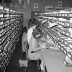 women working with card catalogs