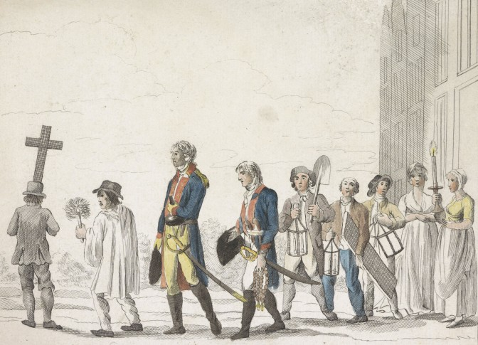 Procession of gullible people searching for gold that a trickster told them about, 1800