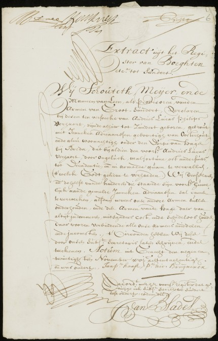 Bond letter of Andries Lucas Philips Verhaert, 29 November 1688