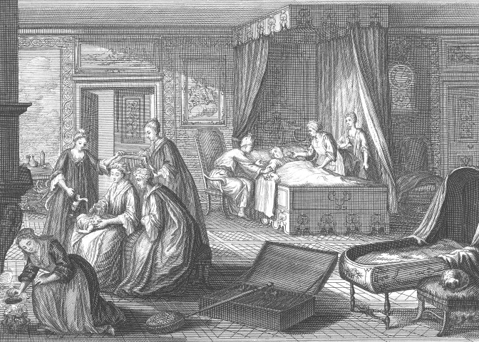 Emergency baptism by a midwife, 1720