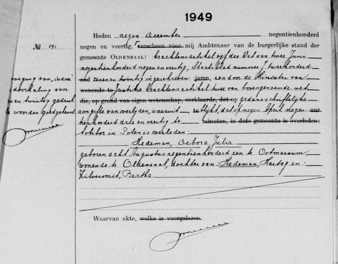 Death record of Debora Julia Hedeman, died Sobibor, 9 April 1943. Her death was recorded in Oldenzaal, Overijssel, the Netherlands on 9 December 1949.