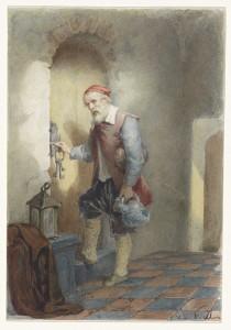 Jailor opening a prison door