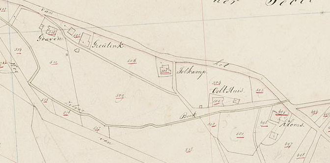 Map of Oolthuis farm and surrounding area  in 1832