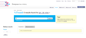 Screenshot showing 0 results in WieWasWie