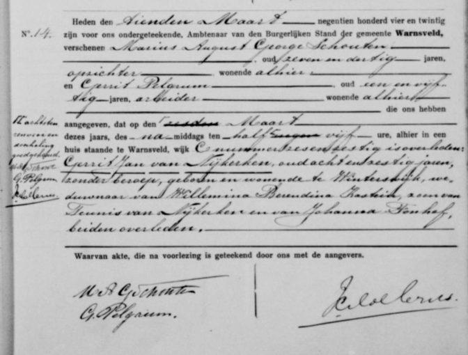Death record of Gerrit Jan van Nijkerken