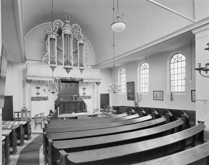 church with curved pews