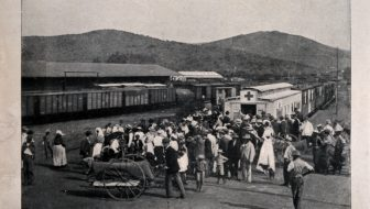 Boer War prisoners arriving at the train station.