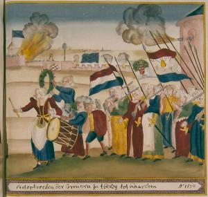 women marching to battle
